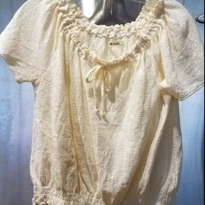 Madewell Top Ivory Short Sleeve Small